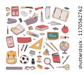 collection of school stationery ... | Shutterstock .eps vector #1170562762