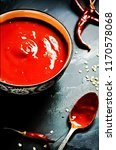 homemade spicy chilli souce ... | Shutterstock . vector #1170578068