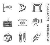 set of 9 simple icons such as o ...
