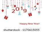 happy new year 2019. vector... | Shutterstock .eps vector #1170615055