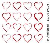 set of vector red hearts in... | Shutterstock .eps vector #1170619105