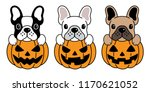 Stock vector dog vector french bulldog pumpkin halloween icon logo illustration symbol cartoon 1170621052