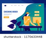 woman checking order on...   Shutterstock .eps vector #1170633448