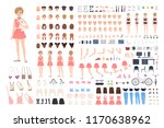 cute young girl diy or... | Shutterstock .eps vector #1170638962