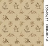 vintage seamless pattern with... | Shutterstock . vector #117064078