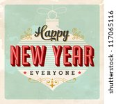 vintage new year's eve card  ... | Shutterstock .eps vector #117065116