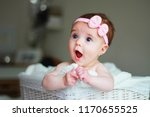 Cute Baby Girl  With A Bow On...