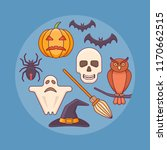 set of halloween elements.... | Shutterstock .eps vector #1170662515