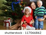 happy children with mother near ... | Shutterstock . vector #117066862