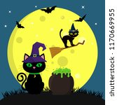 the halloween cat in the witch... | Shutterstock .eps vector #1170669955