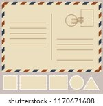 postal card isolated on white... | Shutterstock .eps vector #1170671608