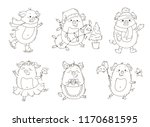 Cute pig illustration for coloring book.