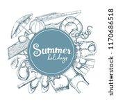 set of beach summer holidays...   Shutterstock . vector #1170686518
