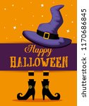 happy halloween card with witch ... | Shutterstock .eps vector #1170686845