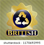 gold shiny emblem with recycle ... | Shutterstock .eps vector #1170692995