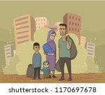 refugee family on dusty city... | Shutterstock .eps vector #1170697678