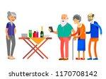 happy seniors couple enjoying... | Shutterstock .eps vector #1170708142
