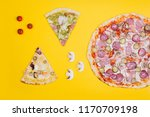 two pieces of pizza and pizza... | Shutterstock . vector #1170709198