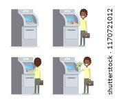 african american man using atm... | Shutterstock .eps vector #1170721012
