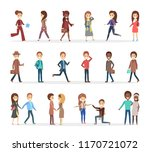 set of people dressed in... | Shutterstock .eps vector #1170721072