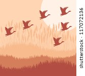 Goose hook flying background autumn vector - stock vector
