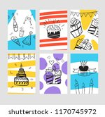 set of birthday greeting cards. ... | Shutterstock .eps vector #1170745972