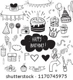 set of vector birthday party... | Shutterstock .eps vector #1170745975
