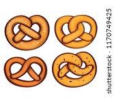 german pretzel icon set.... | Shutterstock .eps vector #1170749425