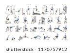 set of workout for men on... | Shutterstock .eps vector #1170757912