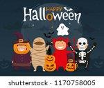 happy halloween with kids in... | Shutterstock .eps vector #1170758005