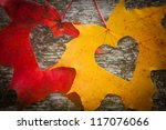 love hearts on colorful autumn... | Shutterstock . vector #117076066