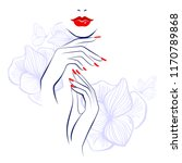 red lips  hand with red... | Shutterstock .eps vector #1170789868