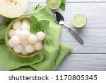 bowl with delicious melon balls ... | Shutterstock . vector #1170805345