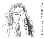 sketch of sad and tired young... | Shutterstock .eps vector #1170808735