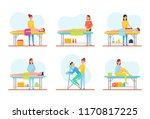massage treatment of clients on ... | Shutterstock .eps vector #1170817225
