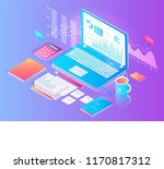 workspace with working tablet... | Shutterstock .eps vector #1170817312