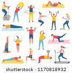 characters doing fitness with... | Shutterstock .eps vector #1170818932