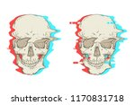 two skulls. interference. | Shutterstock .eps vector #1170831718