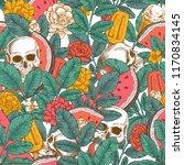 summer florals seamless pattern.... | Shutterstock . vector #1170834145