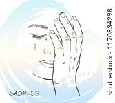 sketch of sad crying woman face ... | Shutterstock .eps vector #1170834298