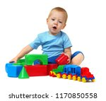 little boy playing toy isolated ... | Shutterstock . vector #1170850558