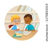 smiling children reading books... | Shutterstock .eps vector #1170853315