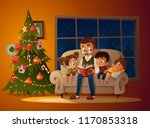 grandfather sitting with... | Shutterstock .eps vector #1170853318