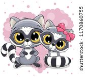 two cute cartoon raccoons on a... | Shutterstock .eps vector #1170860755