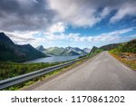 road in norway mountains. fjord ... | Shutterstock . vector #1170861202