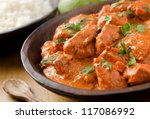butter chicken curry with... | Shutterstock . vector #117086992