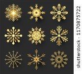 gold snowflakes set. elegant... | Shutterstock .eps vector #1170875722