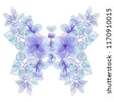 watercolor floral butterfly in... | Shutterstock . vector #1170910015