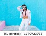 latin woman on trendy sportswear | Shutterstock . vector #1170923038