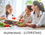 healthy food at home. happy... | Shutterstock . vector #1170937642